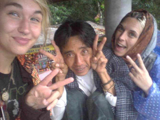 Three friends take a selfie