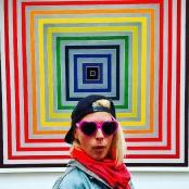 girl posing in front of art the de young museum california san francisco golden gate park
