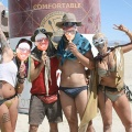 Friends in front of a giant soup can at Burning Man 2015