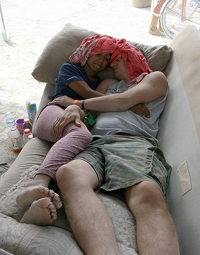 2 people lay dehydrated at burning man to recover