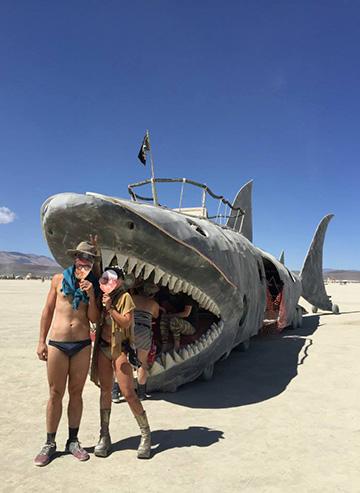 Shark art car at burning man 2015