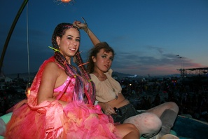 2 girls during sunset at burning man