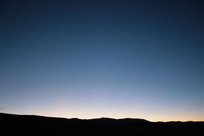 a deep blue sunset in nevada