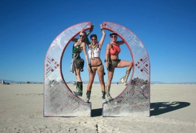 3 hot girls at burning man