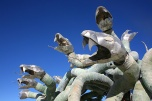 A giant snake medusa sculpture at burning man