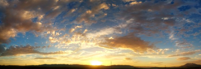 Panoramic sunset over Nevada mountains