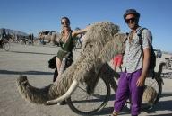 A snuffaluffagus inspired art bike at burning man