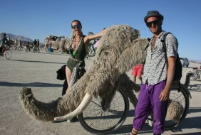 A snuffaluffagus inspired art bike at burning man