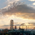 Panoramic sunset of coney island