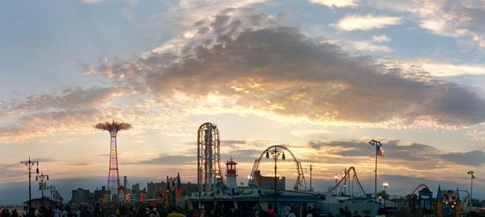 Panoramic sunset of coney island