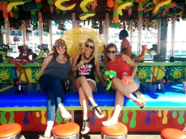Girls in Coney Island amusement park