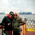 Two girls riding the Staten Island Ferry