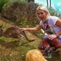 a girl and a kangaroo