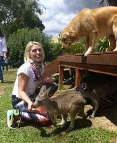 girl with kangaroos