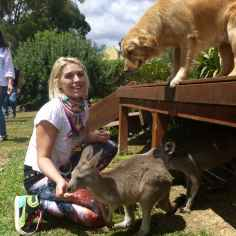 girl with kangaroos